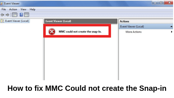 How to fix MMC Could not create the Snap-in