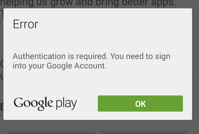 Google Play Authentication is Required