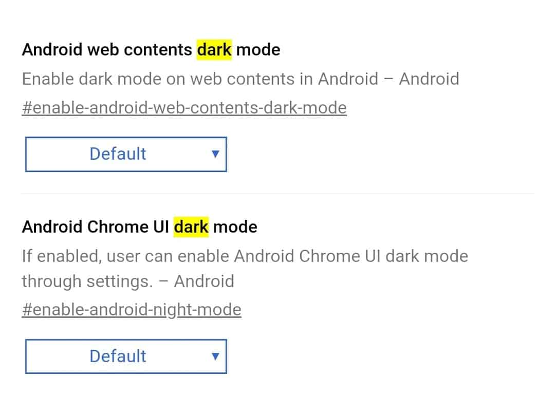 Android Chrome UI Dark Mode