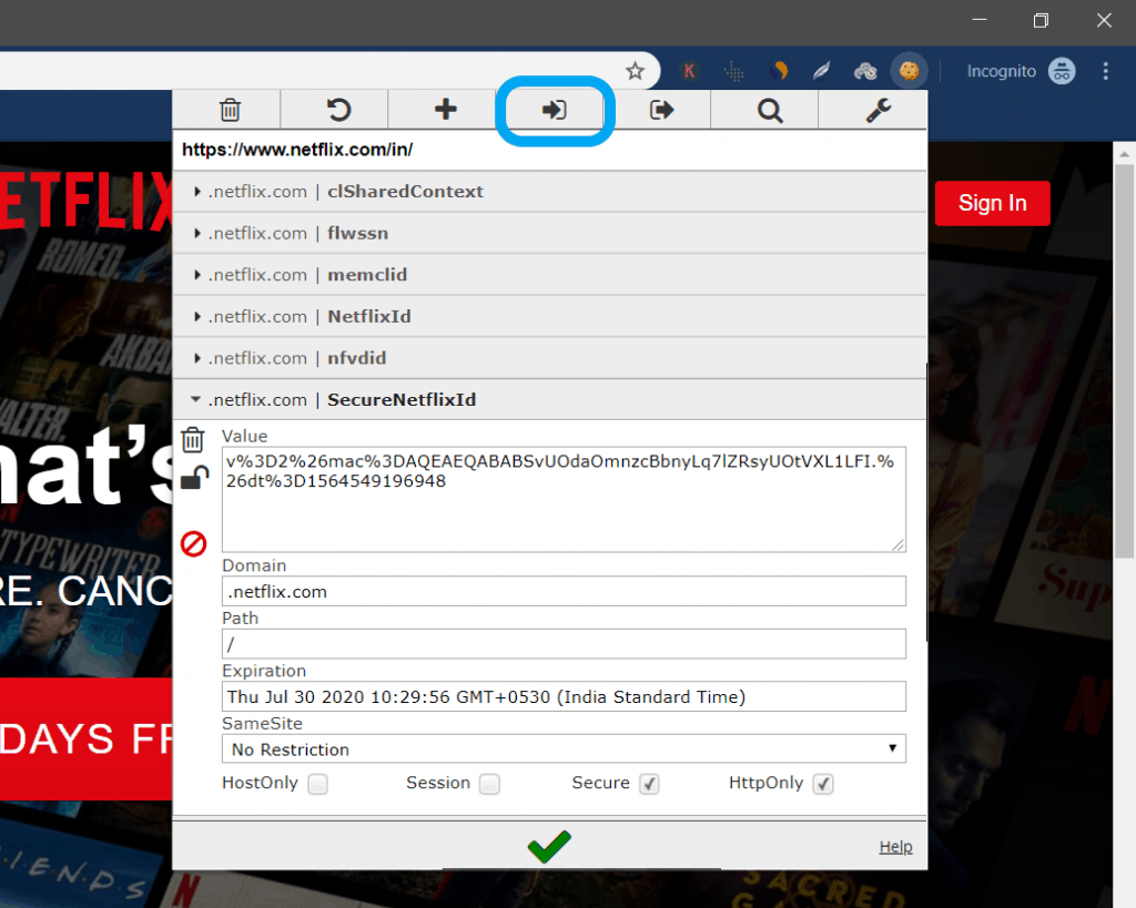 How to use Netflix Cookie