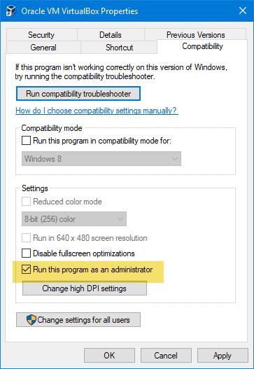VirtualBox failed to open session for the virtual machine