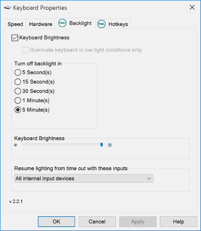 How to configure Keyboard Backlit Timeout settings for your Windows