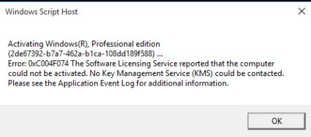 Fix Windows Activation Error Code 0xc004f074