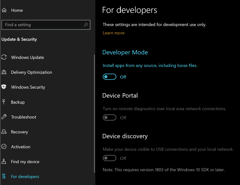 Windows-10-Enable-Developers-Mode