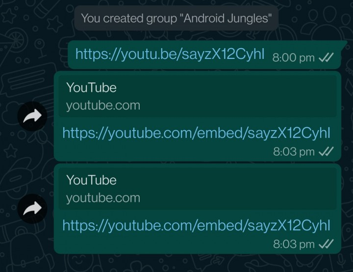 embed youtube url whatsapp