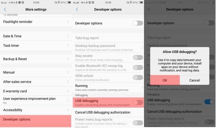 USB debugging android 10
