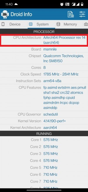 check android device cpu architecture 32 or 64 bit