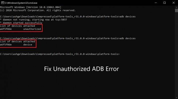 fix unauthorized device adb command
