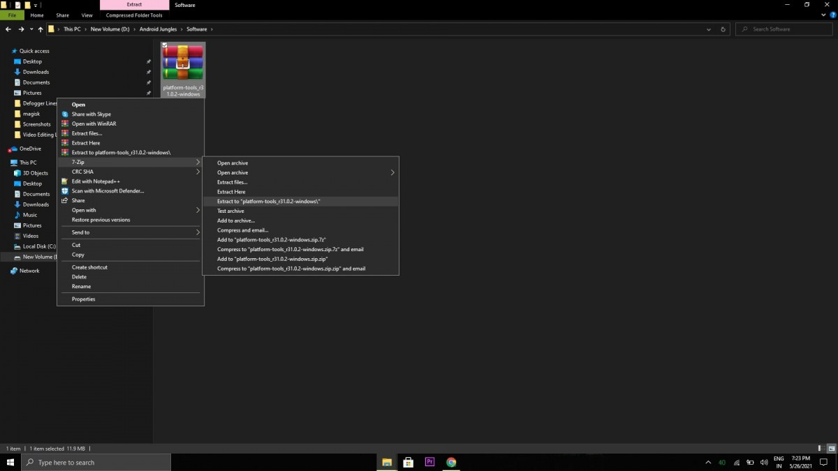 Extract Android SDK platform-tools package on your Windows computer