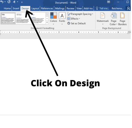 how to double space in word and click on design