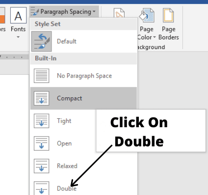 click on double for how to double space in word