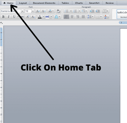 click on home