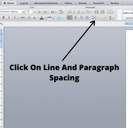 click on line spacing