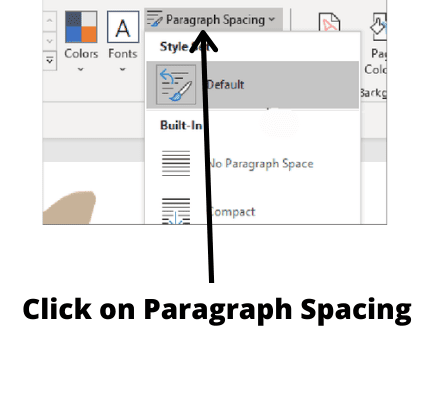 click on paragraph spacing