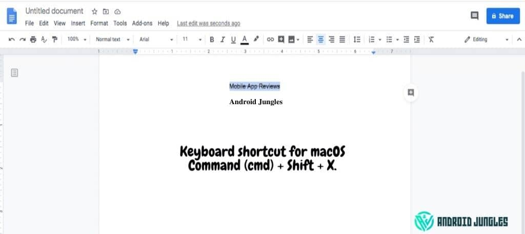 how to strikethrough in google docs in macos