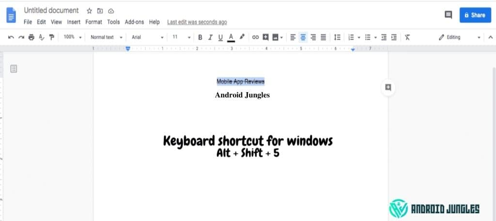 how to srtikethrough in google docs in windows